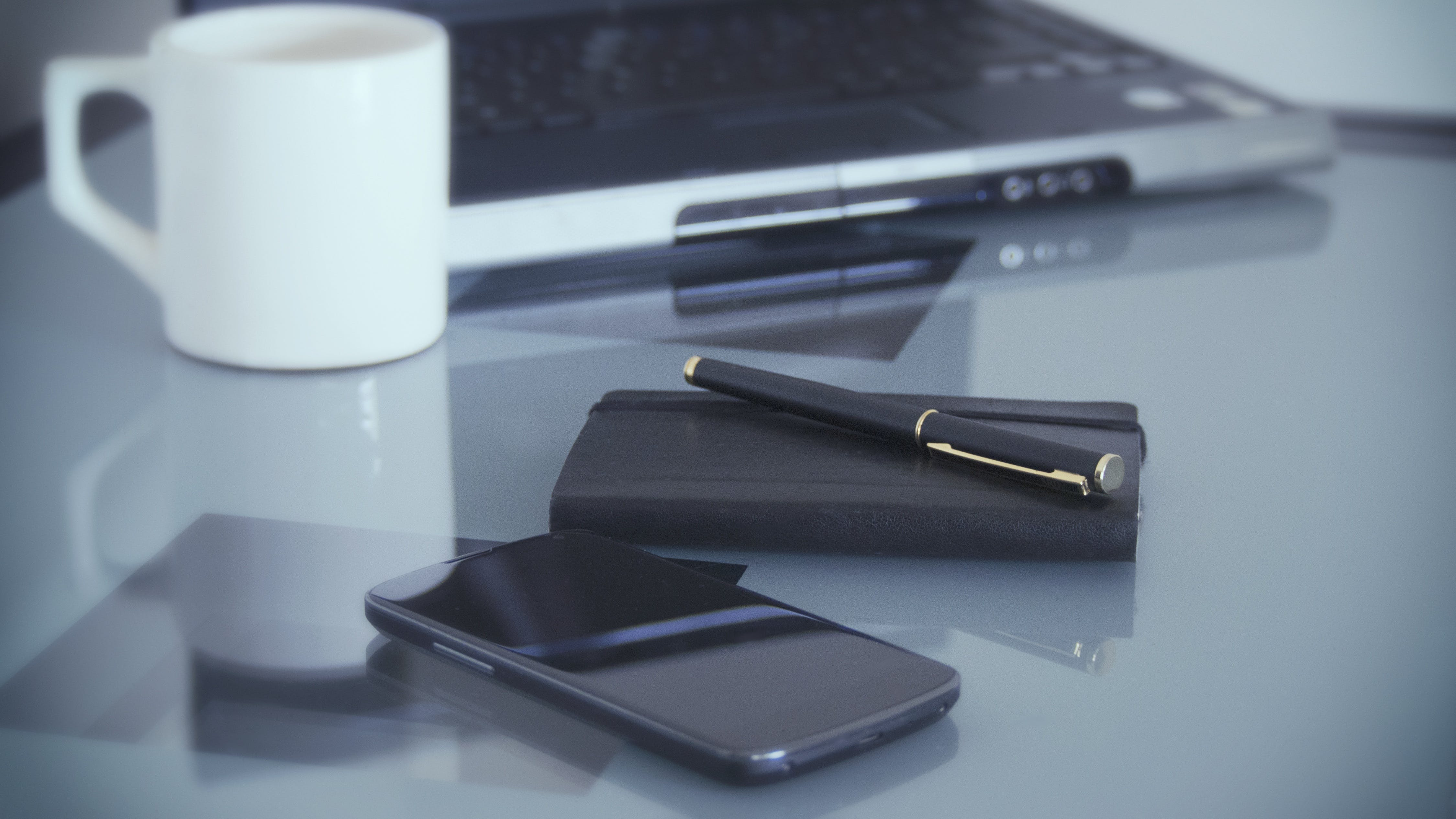 Free stock photo of coffee, smartphone, laptop, notebook