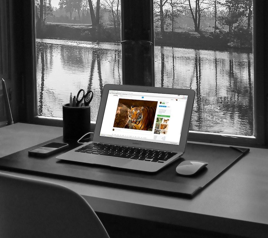 black-and-white, computer, desk