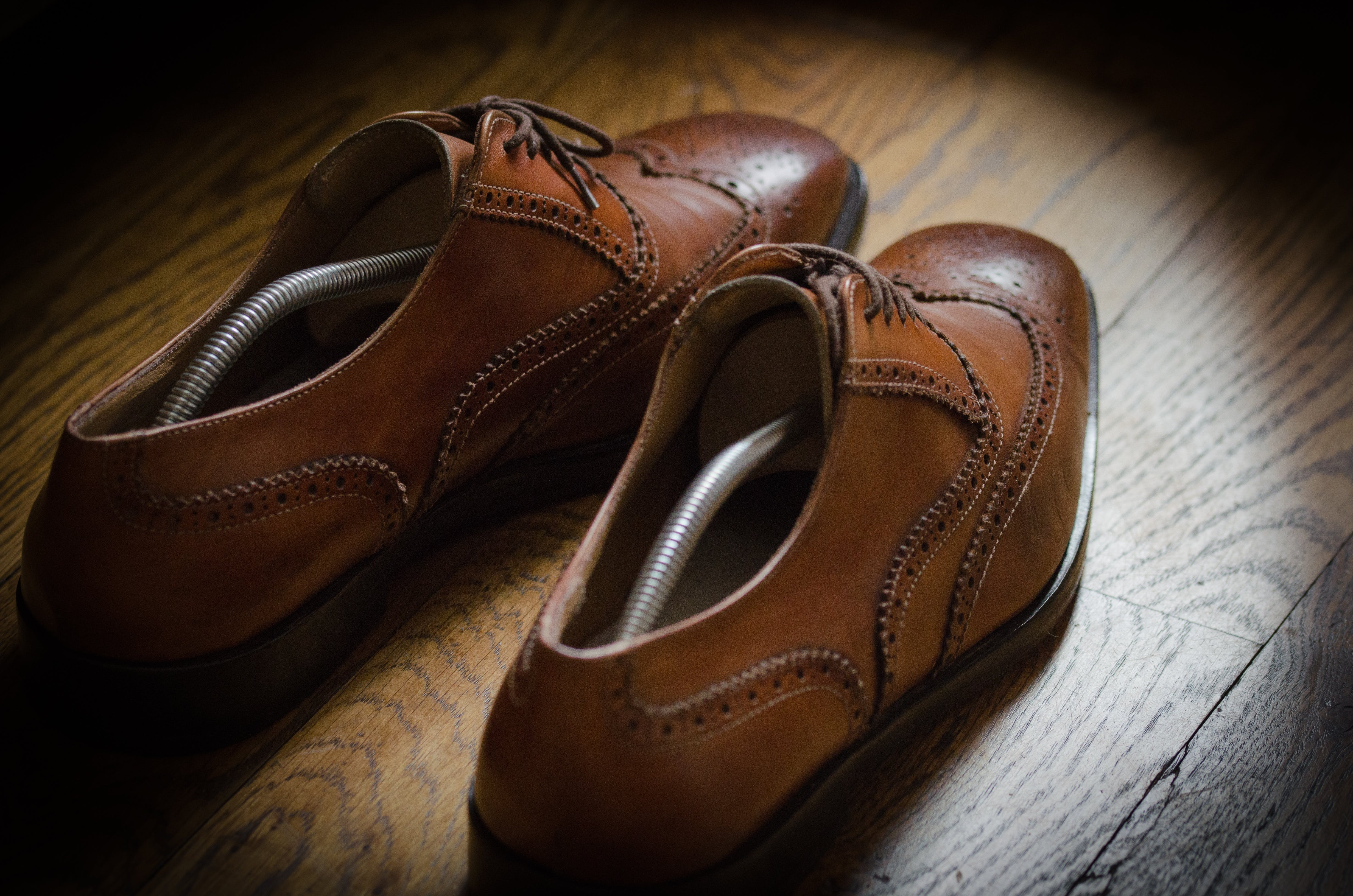 Pair of Brown Leather Oxford Wingtip Shoes