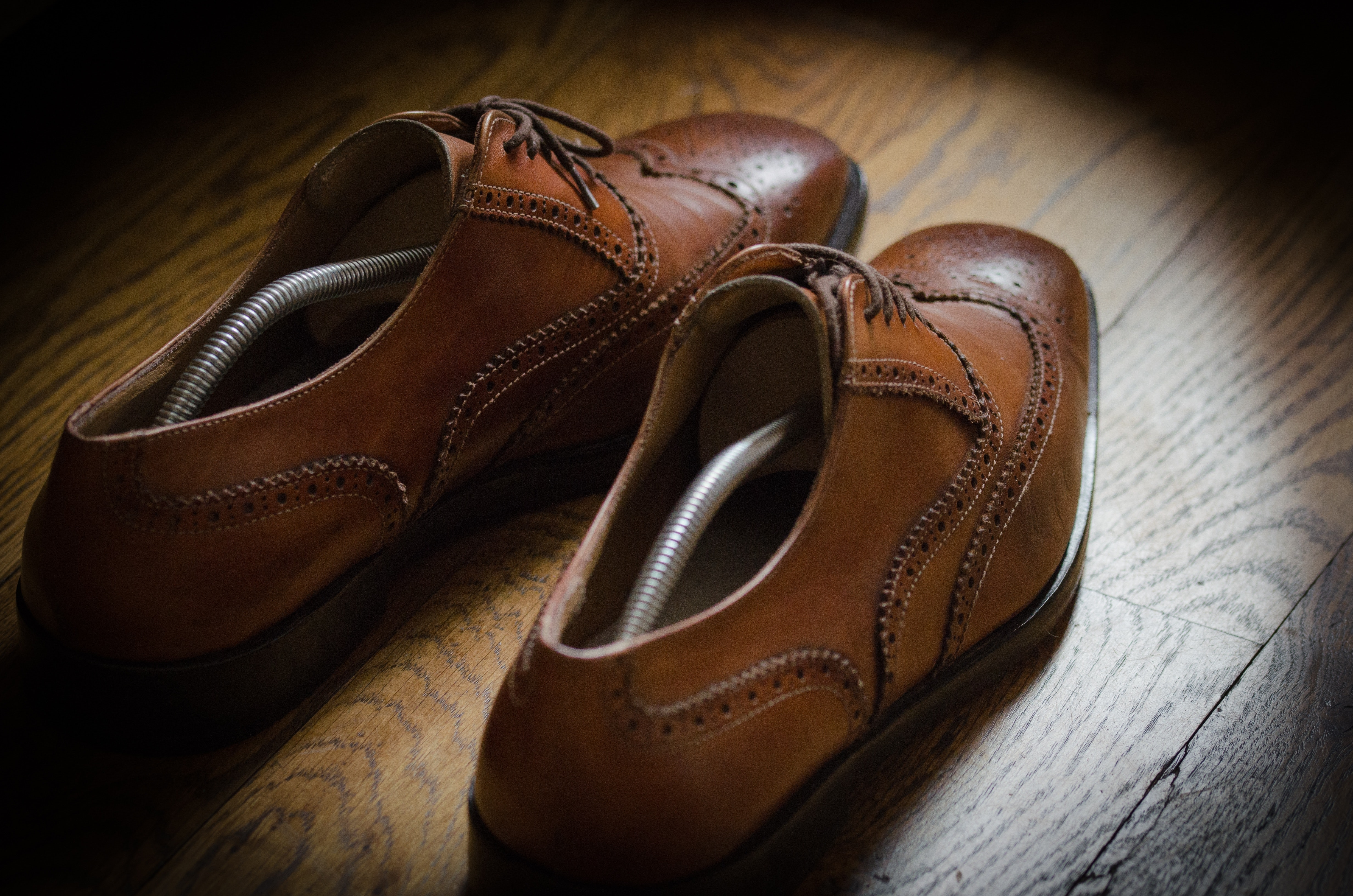 5404aefbdad0 Pair of Brown Leather Oxford Wingtip Shoes · Free Stock Photo