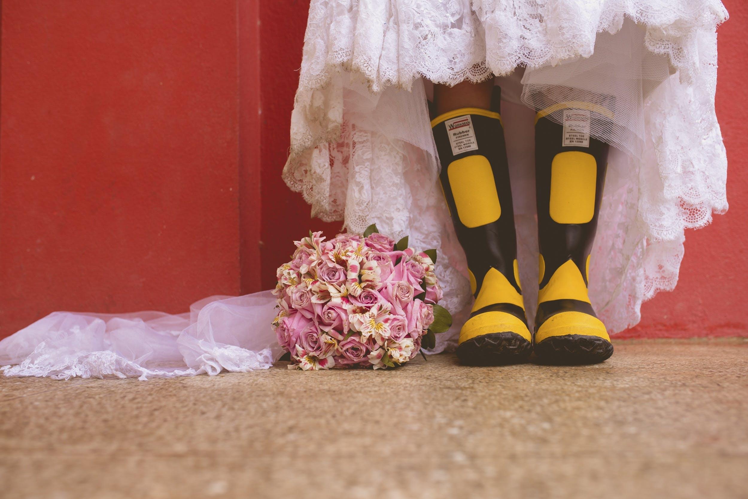 boots, bridal bouquet, bride