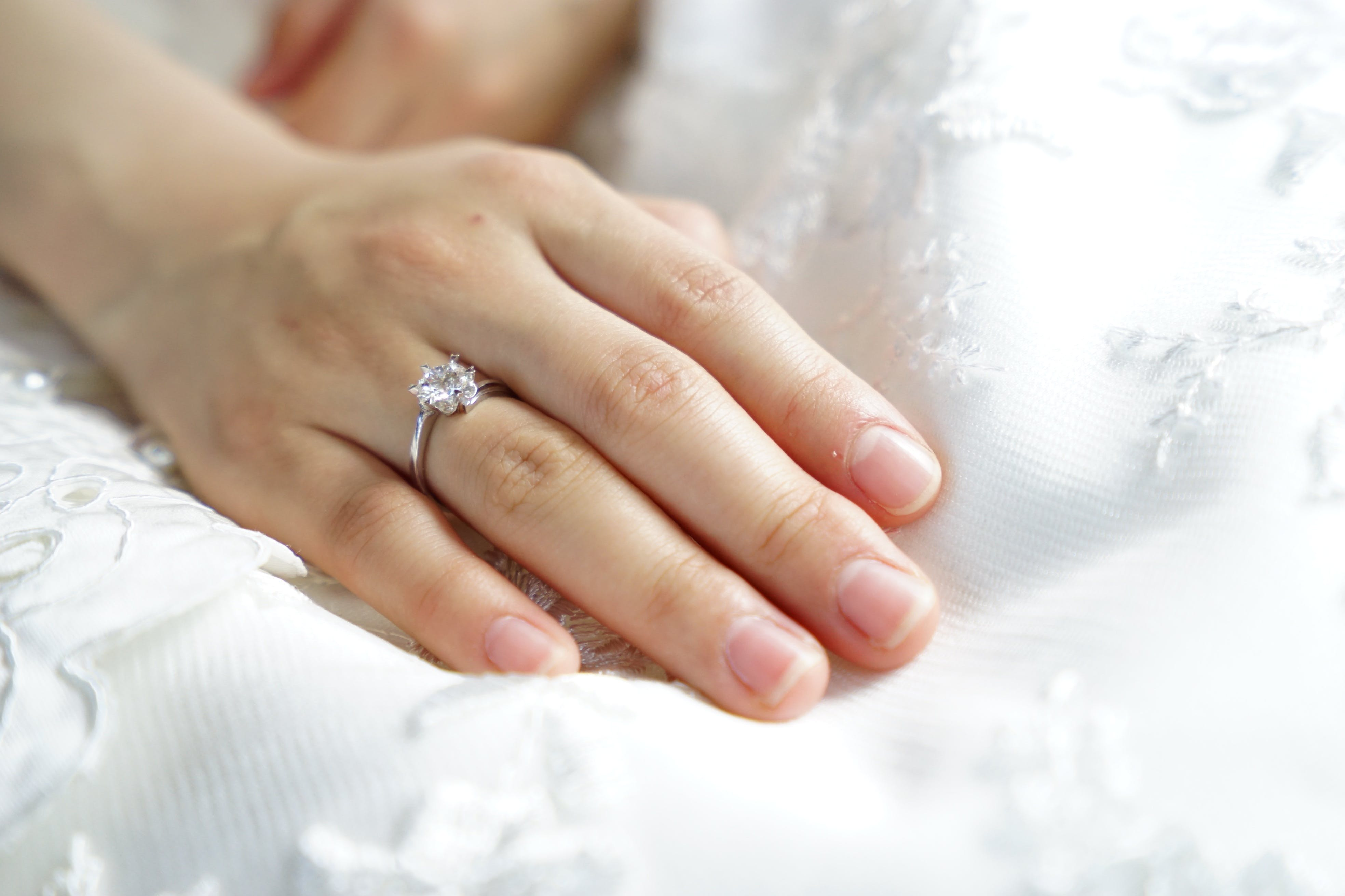 Person Wearing Silver-colored Solitaire Ring With Clear Gemstone