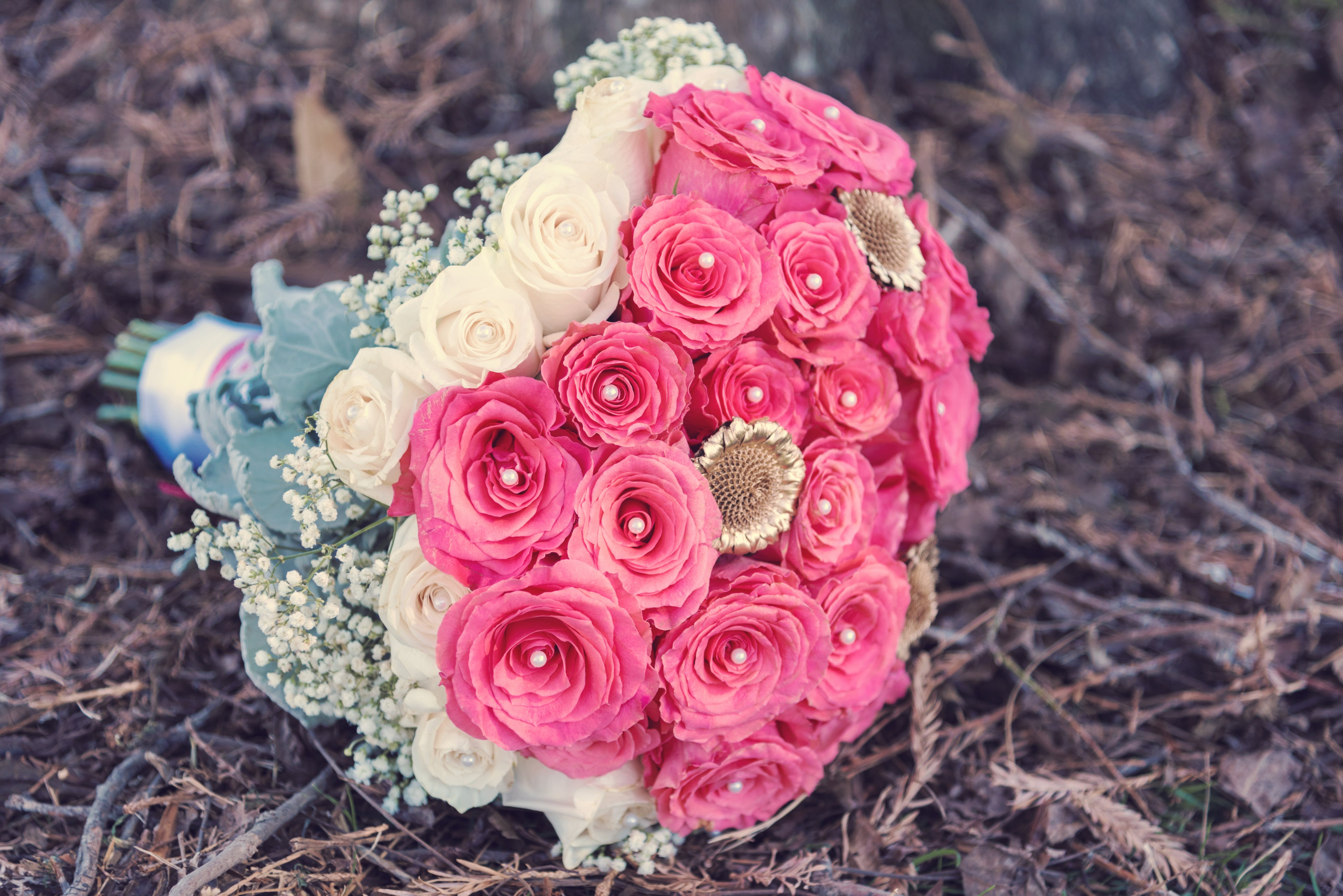 Pink and White Petaled Flower Bouquet