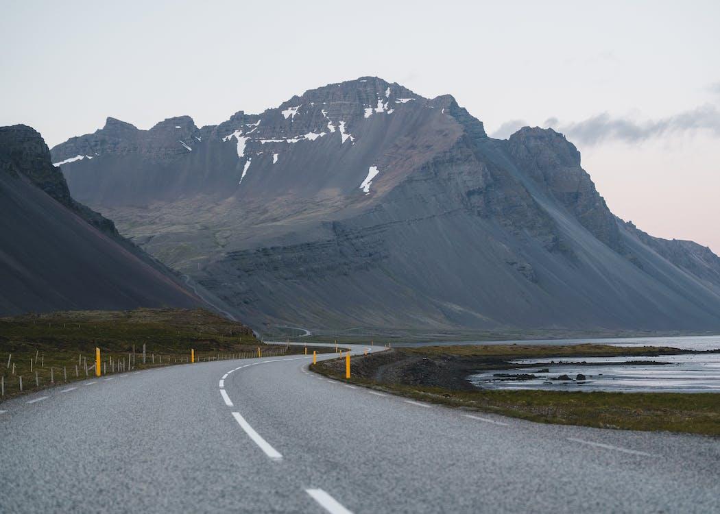 asfalt, dal, fjell