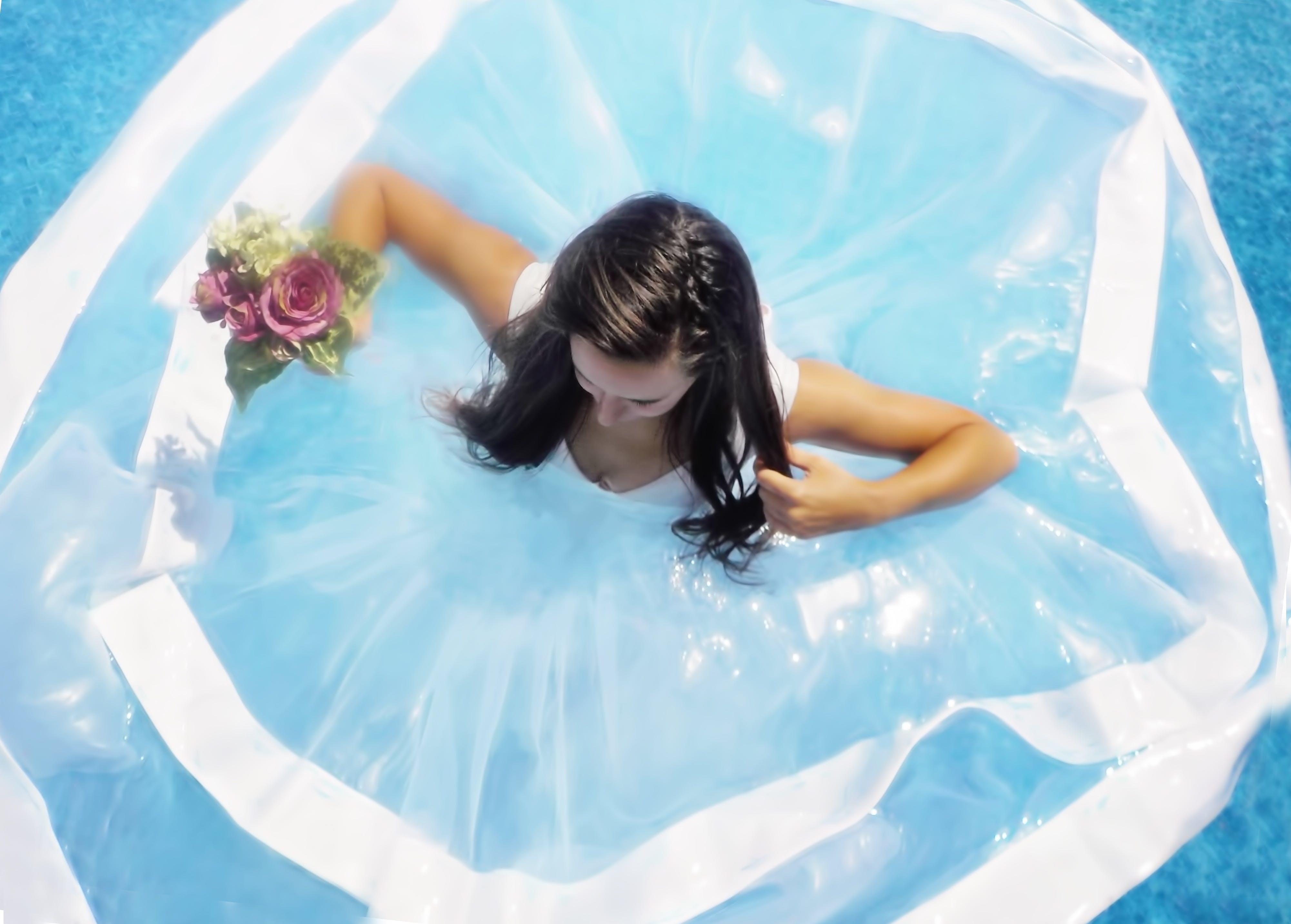 Free stock photo of woman, water, summer, dress