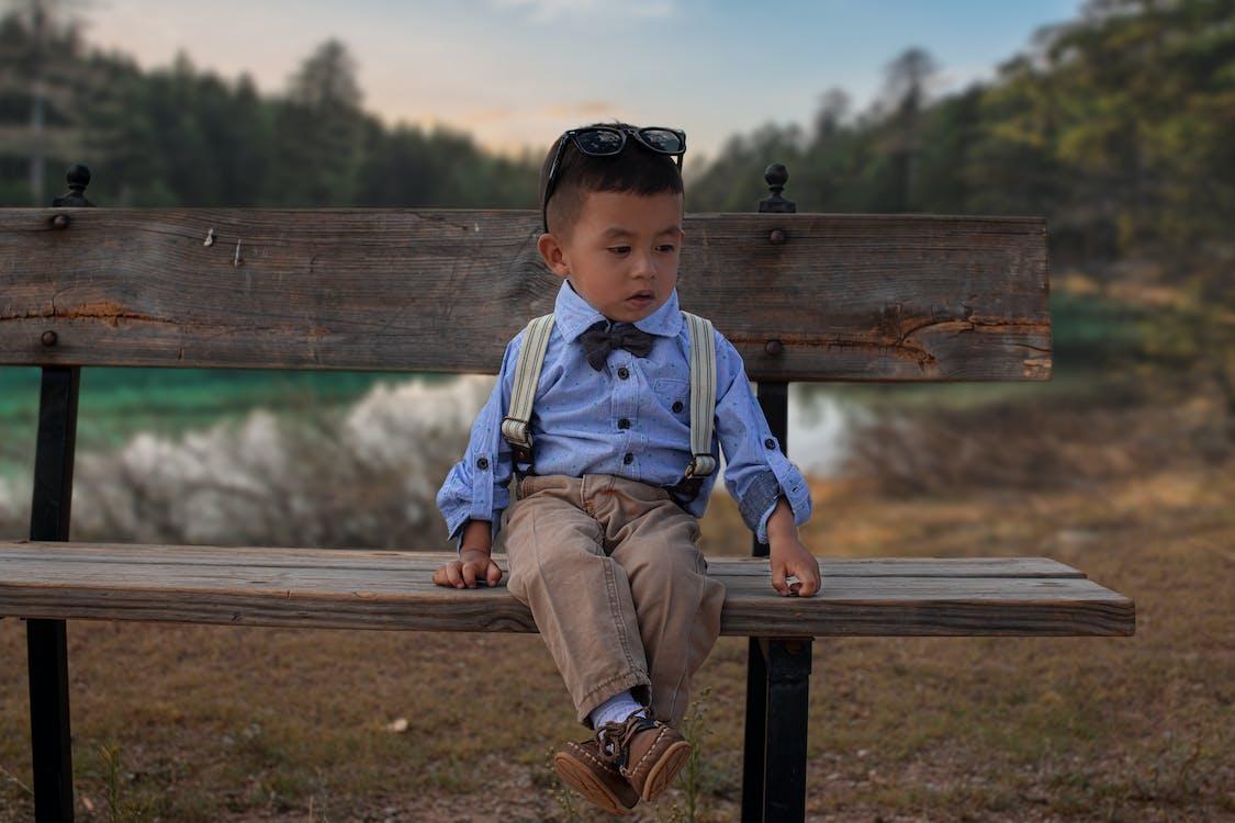 Toddler Boy's Blue Long-sleeved Shirt