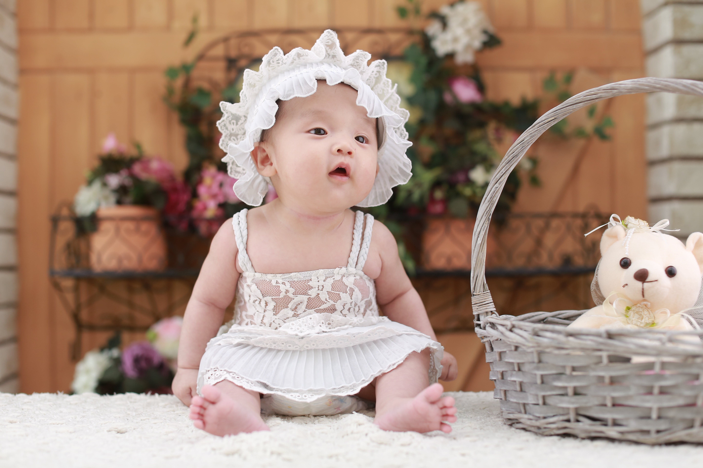 Baby Sitting Beside Woven Basket