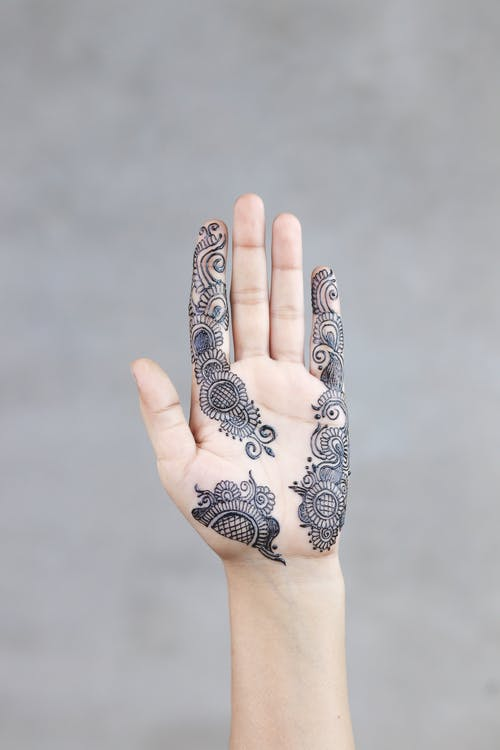 Photo of a Person Showing Mehndi Temporary Tattoo on the hand Palm