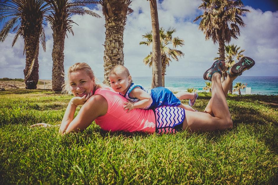 baby, beach, blue sky