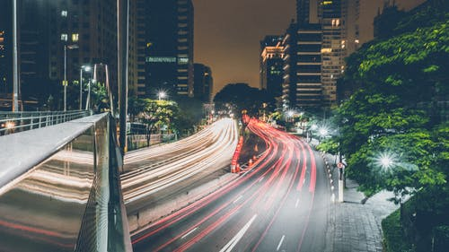 Time-lapse Photography of Passing Vehicles on City Roads at Night
