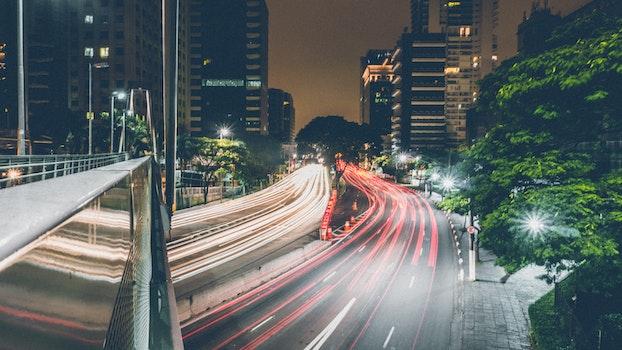 Free stock photo of city, road, traffic, lights