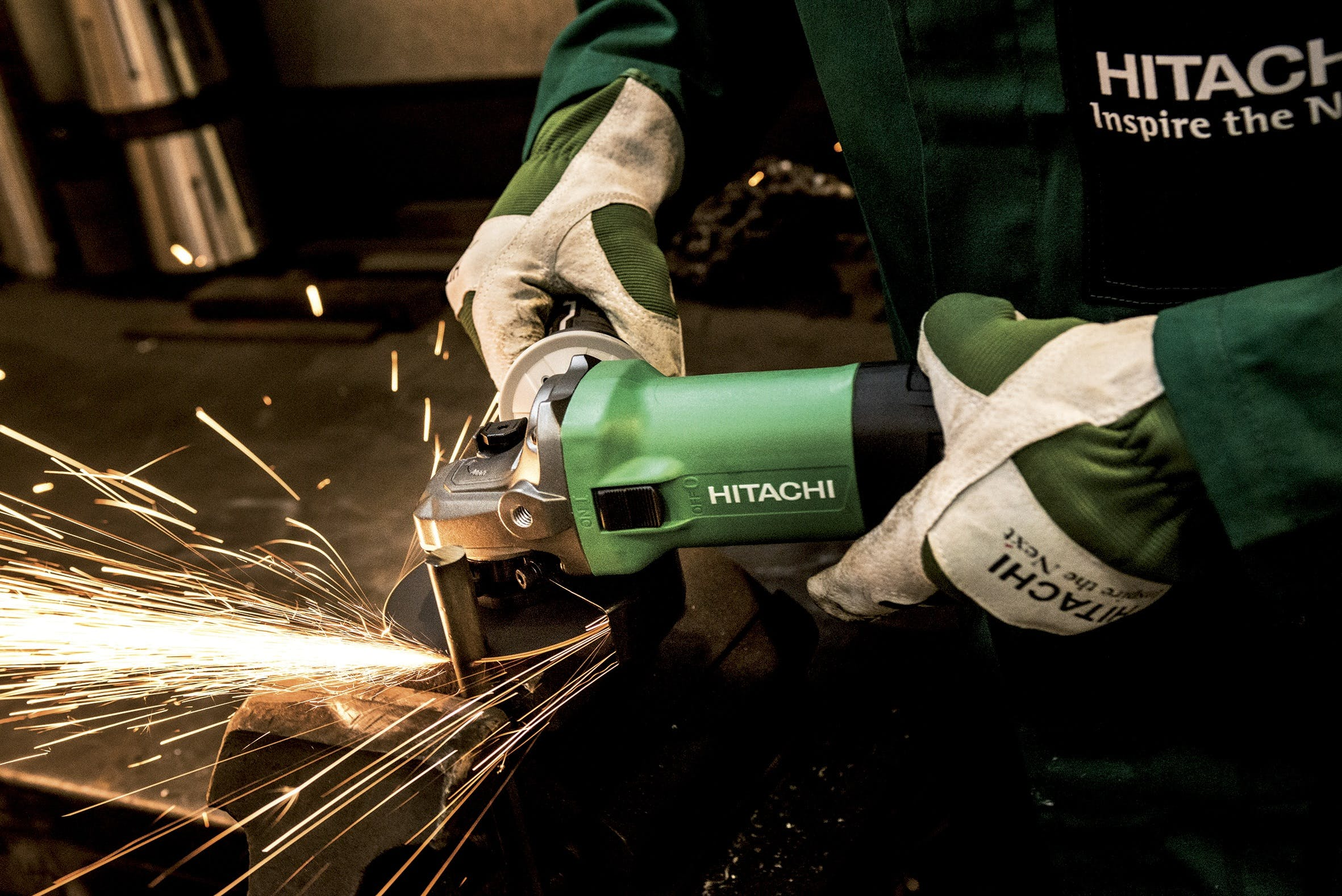 Person Operating Hitachi Angle Grinder