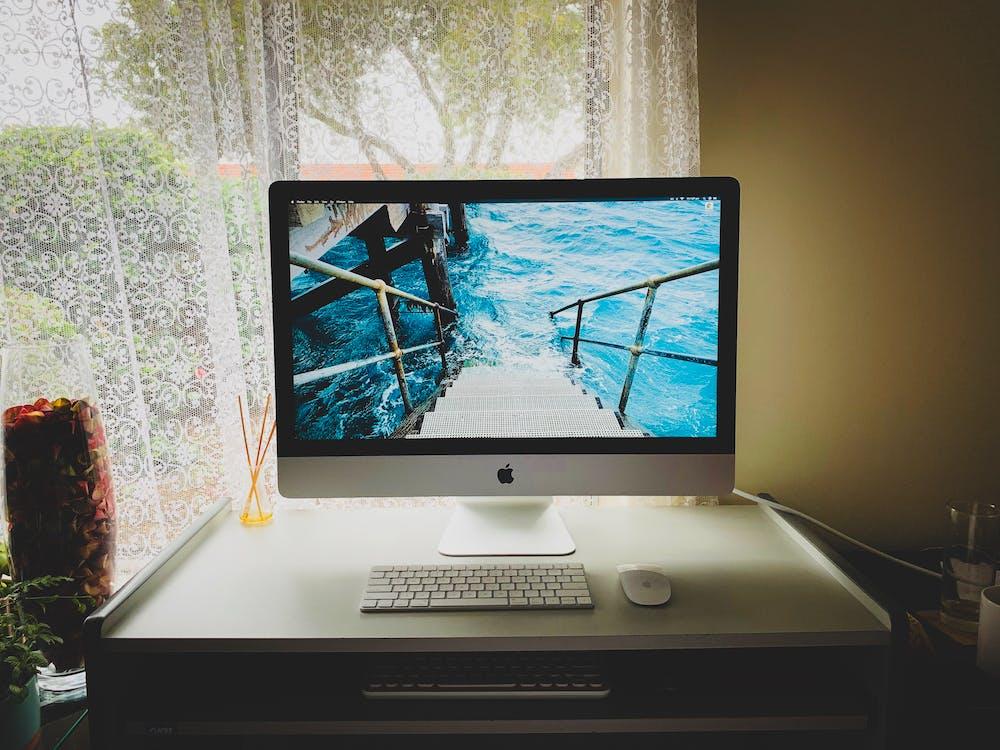 ablak, alma mágikus billentyűzet, asztal