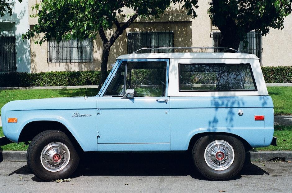 blue, bronco, car