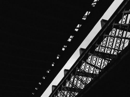 Free stock photo of architecture, black and white, railroad, steel