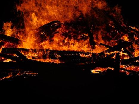 Free stock photo of red, night, dark, firewood