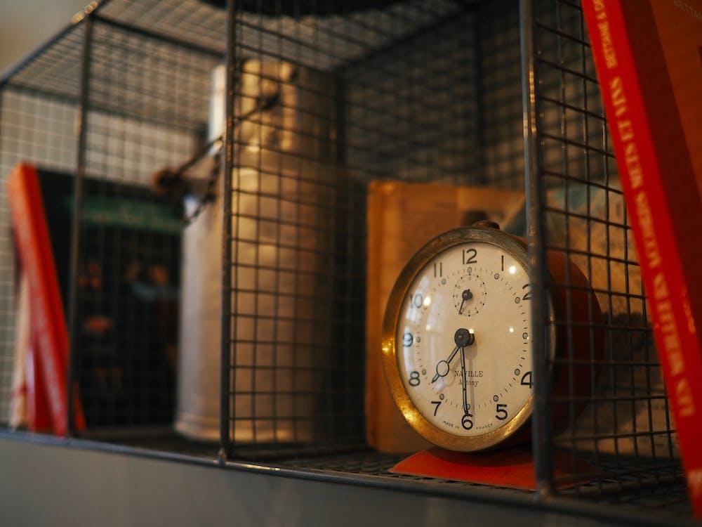 book, bookshelf, clock