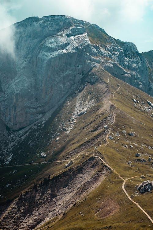 çim, çıkmak, dağ, dağ doruğu içeren Ücretsiz stok fotoğraf