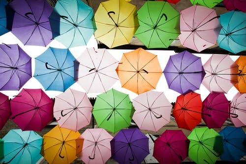 Free stock photo of abstract, colors, umbrellas