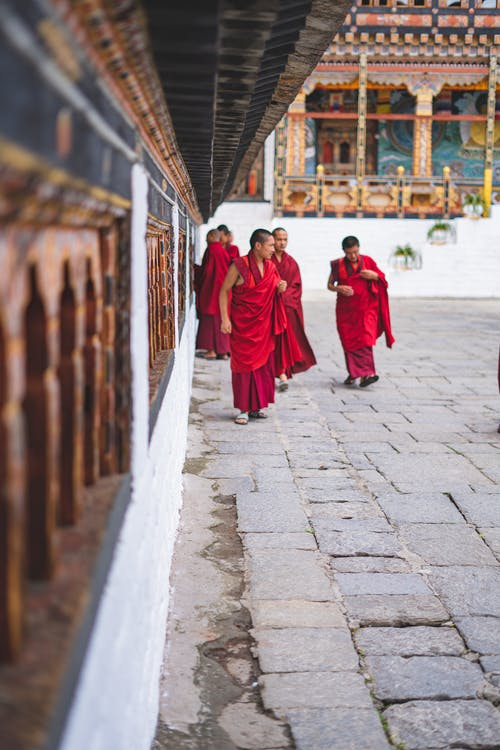 Photo of Monks Outside a Temple
