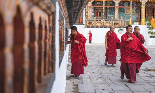 Monks Walking Near Temple