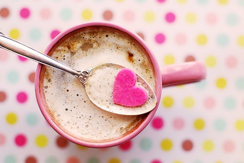 Heart Cutout on Spoon With Coffee Cup