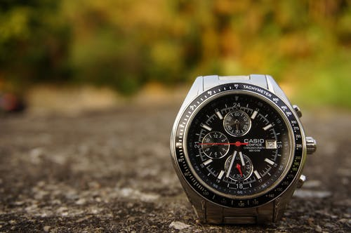 Shallow Focus Photography of Silver-colored Casio Chronograph Watch