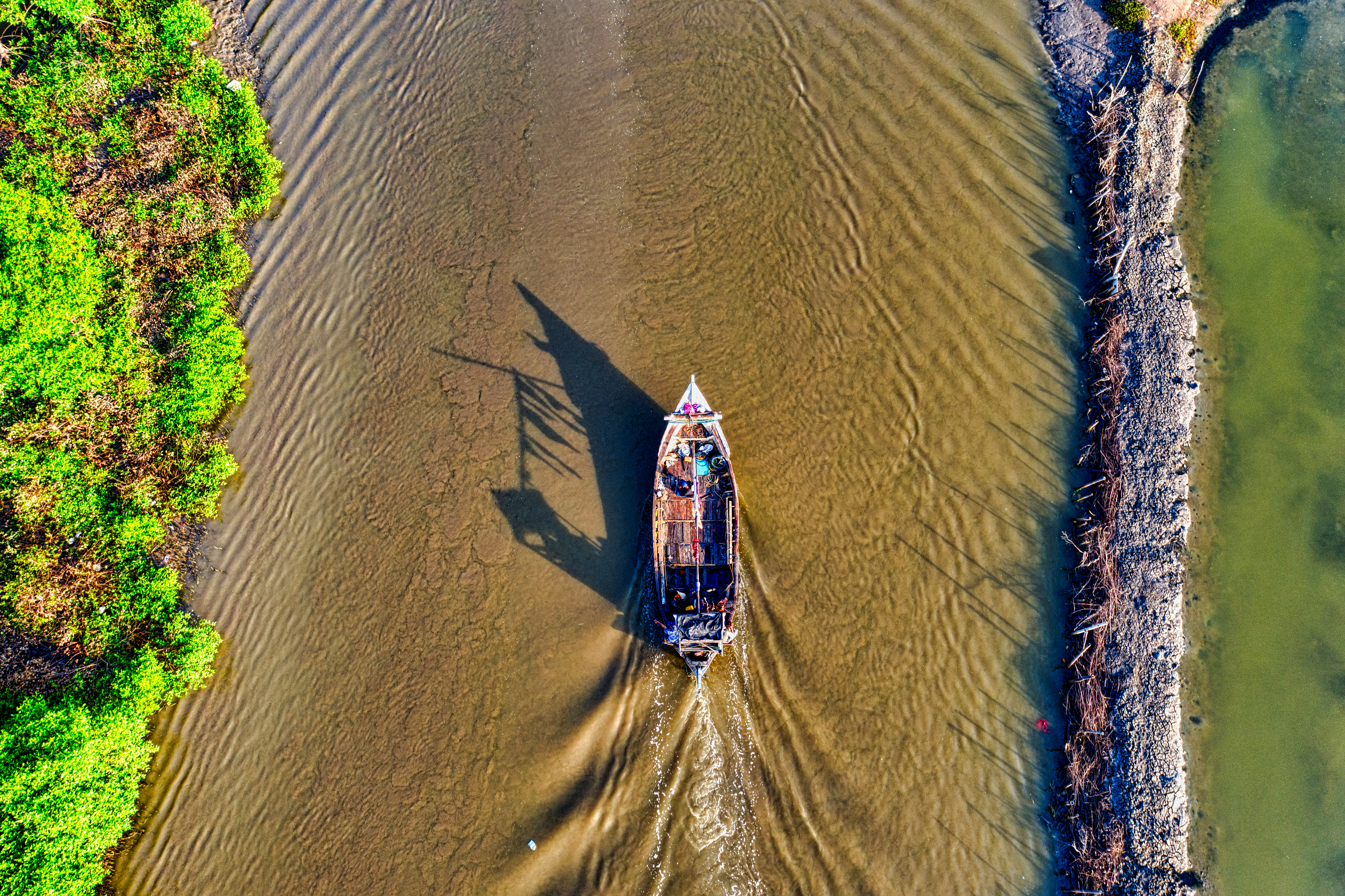 Top View Photo of Motor Boat on River