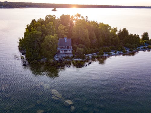 Free stock photo of house, island, lake huron, sunrise