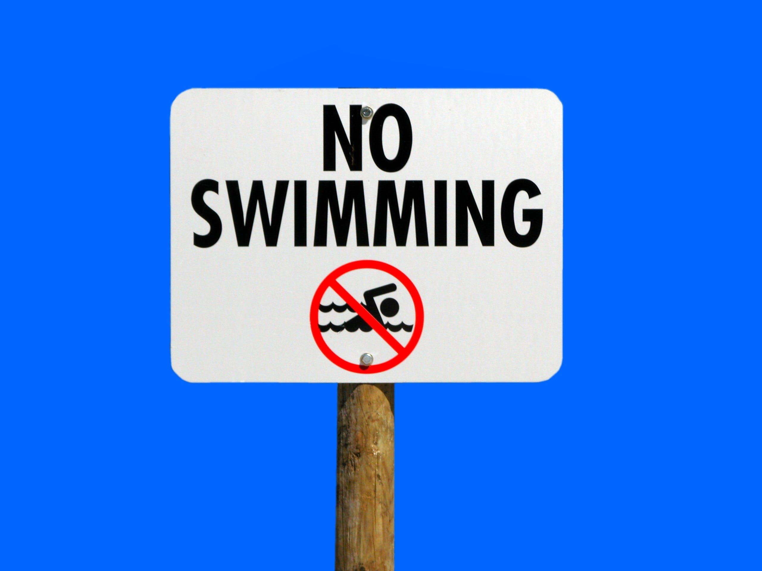 No Swimming Signage