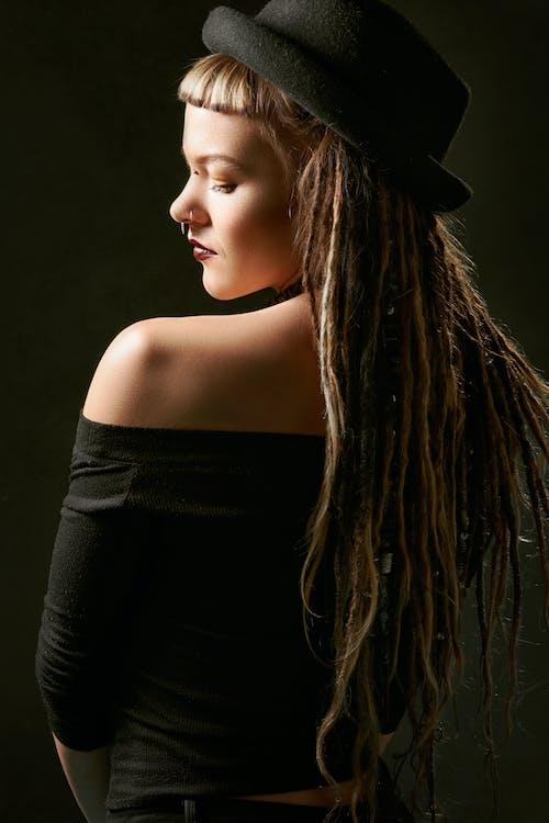 Woman in Black Off-shoulder Top