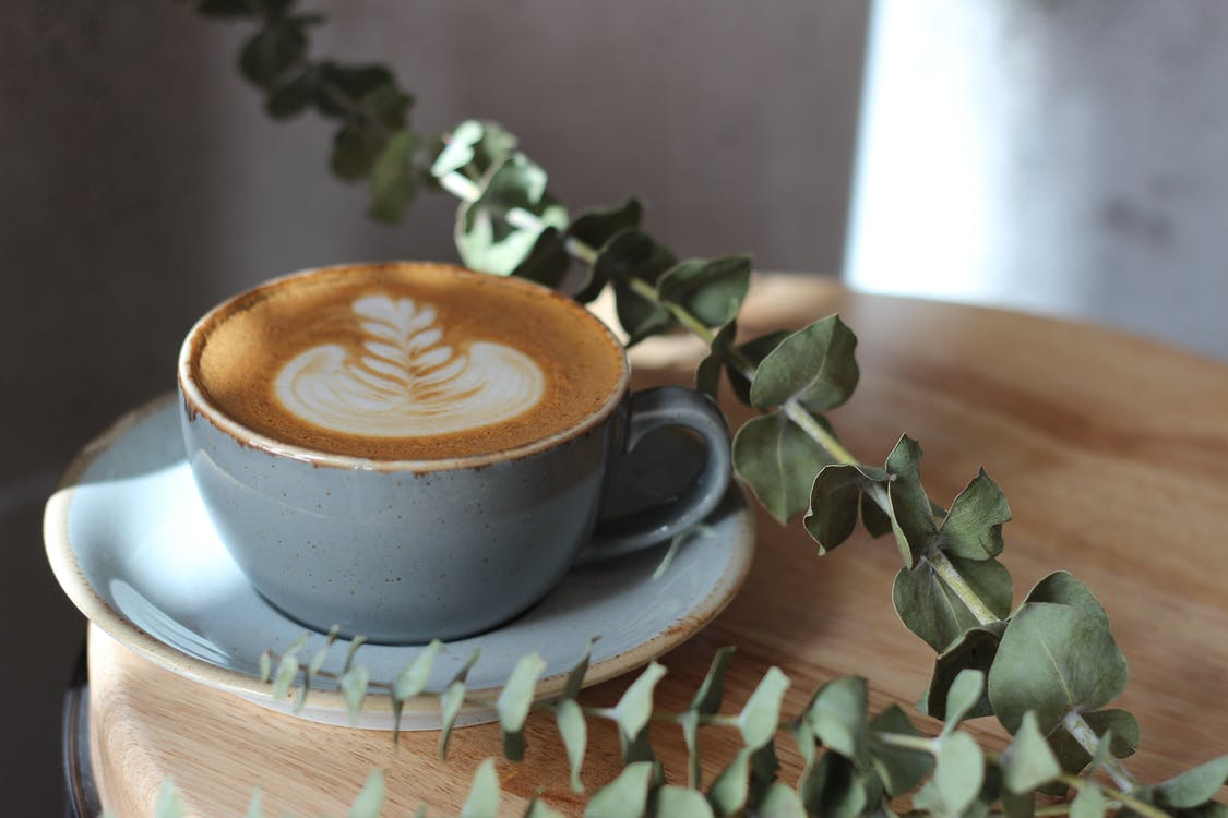 bord, cappuccino, dryck
