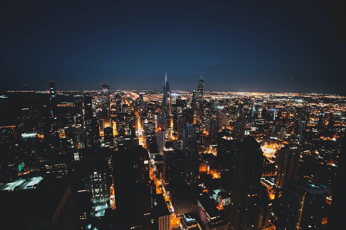 城市, 塔, 天際線