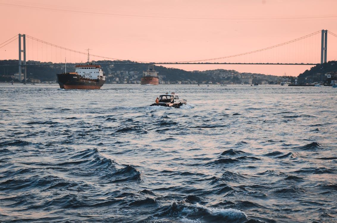båt, bølger, bro