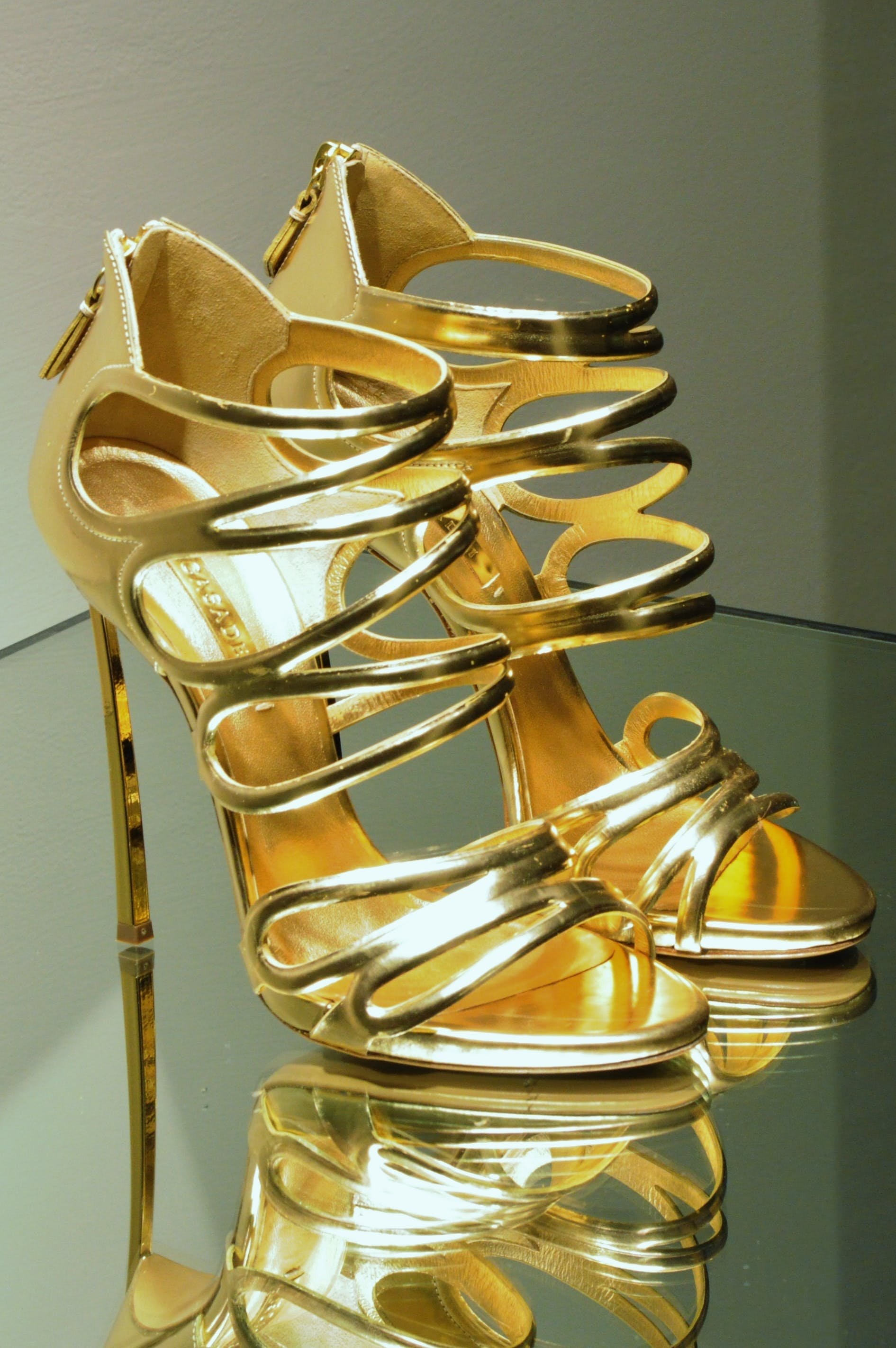 Pair of Gold Open-toe Stilettos
