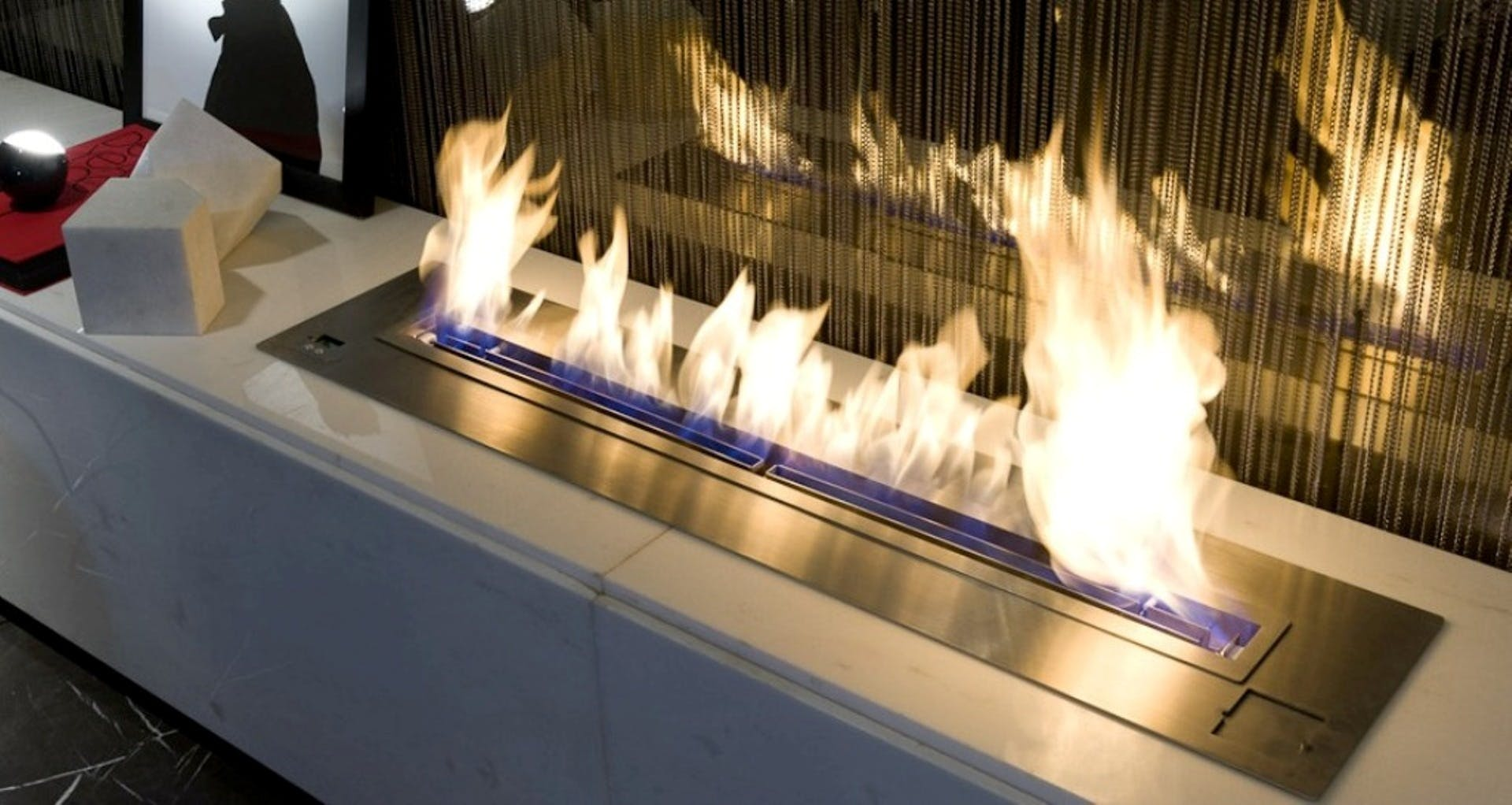 Fire on Gray Steel Frame