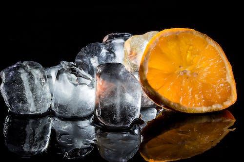 Slice of Orange and Ice Blocks