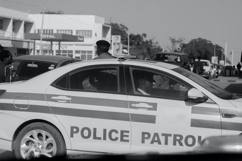 Free stock photo of black and white, police car