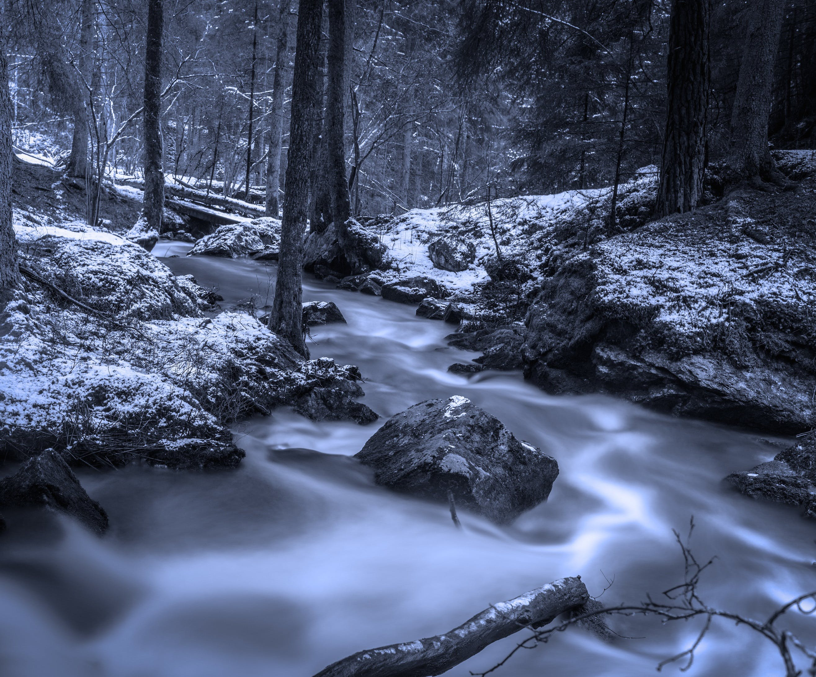 black-and-white, cold, creek