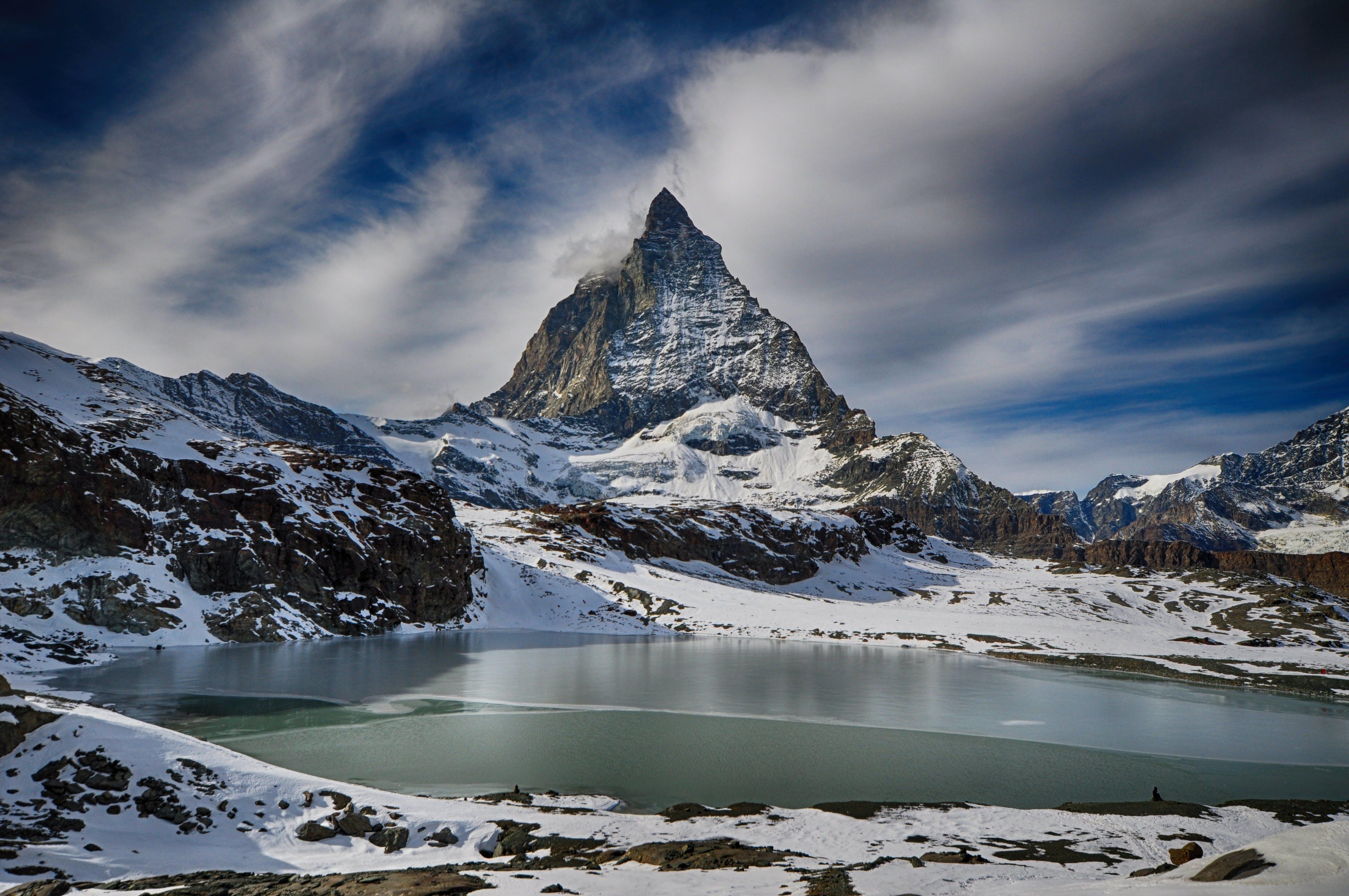 White Mountain Under Gray Sky