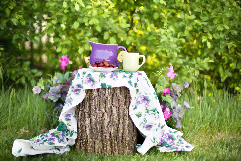 Purple Teapot With Yellow Mug on Top of Wood Log