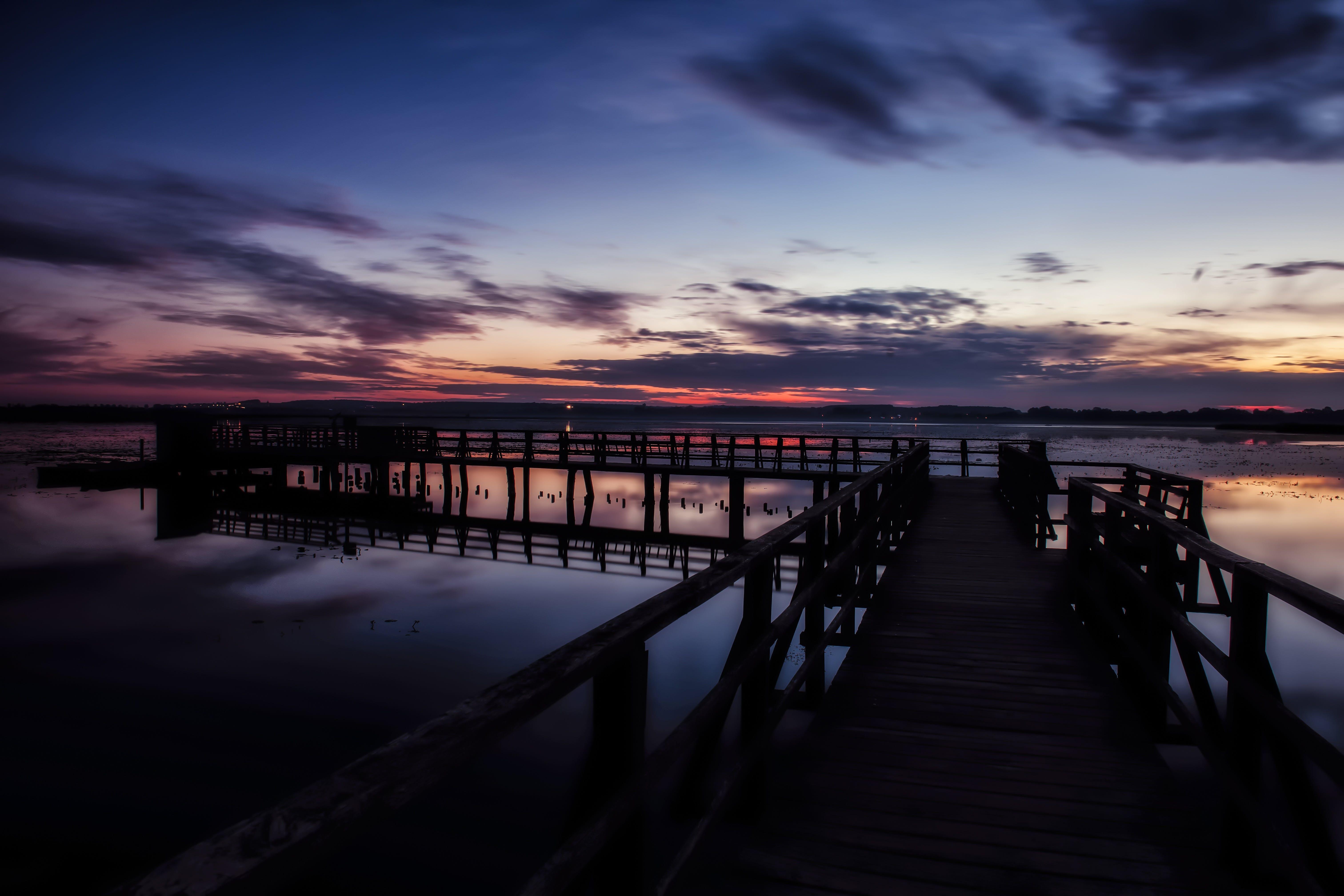 beach, bridge, calm waters