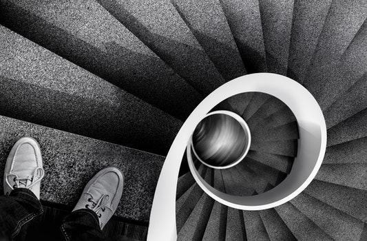 Free stock photo of shoes, ladder, spiral, low
