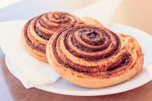 Cinnamon Roll on Plate