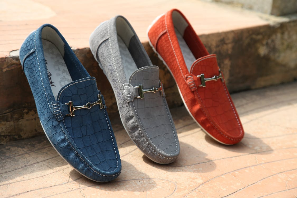 Three Unpaired Red, Gray ,and Blue Horsebit Loafers