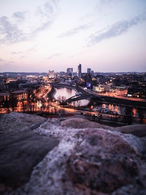 Lighted City Under White Sky