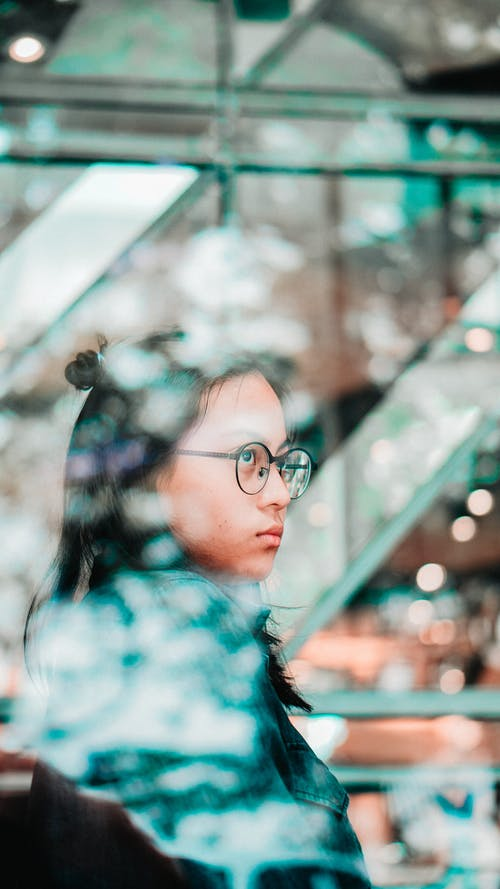 Free stock photo of adult, blue tone, bokeh, eye glasses
