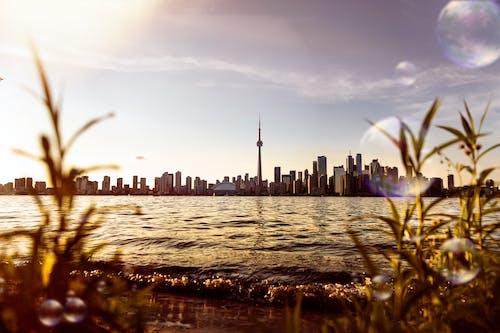 Ilmainen kuvapankkikuva tunnisteilla auringonlasku, downtown toronto, kaupunkinäkymä, kuplat