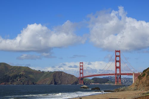 Free stock photo of california, clouds, golden gate bridge, mountains