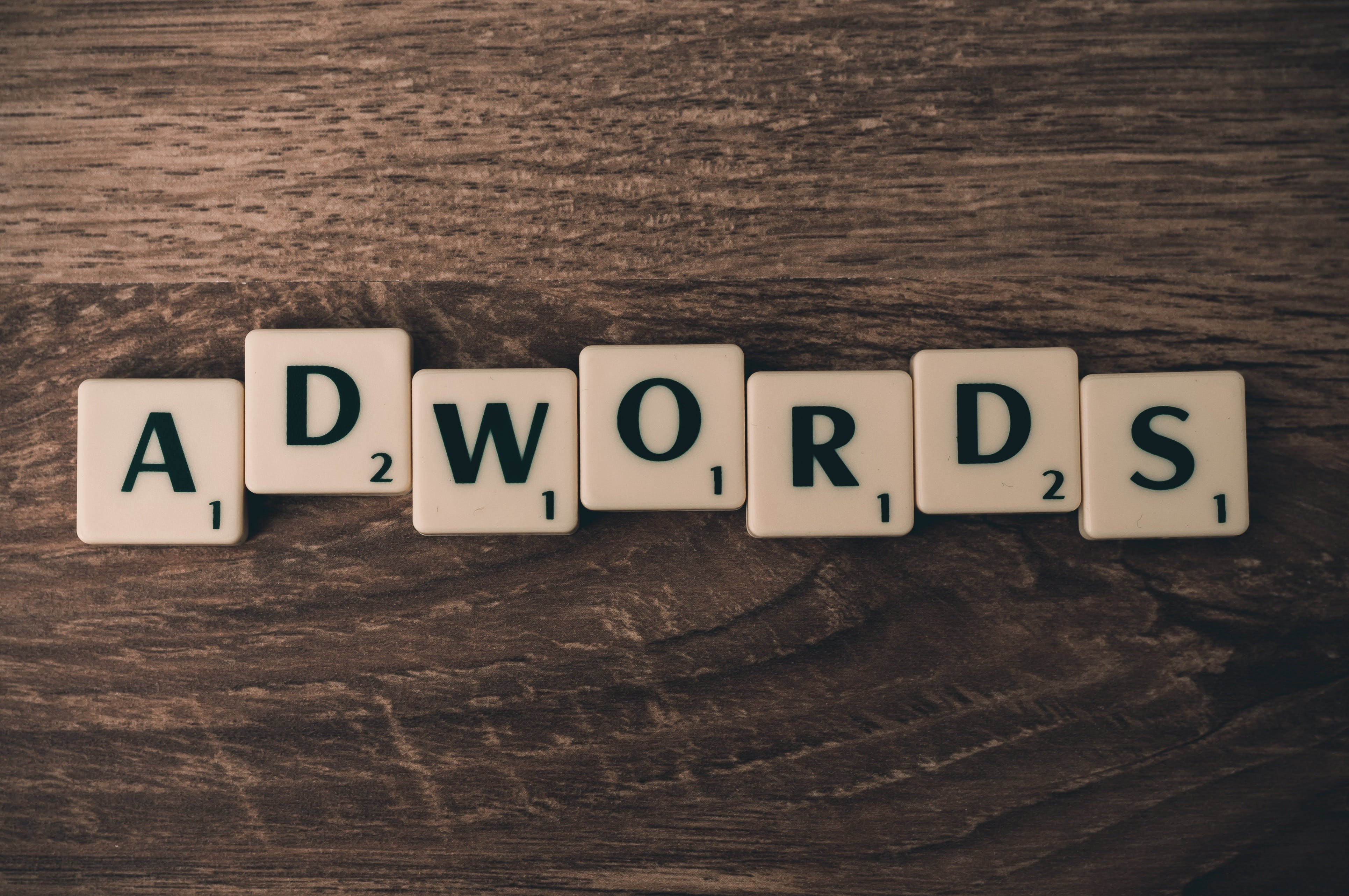 Scrabble Forming Adwords on Brown Wooden Surface